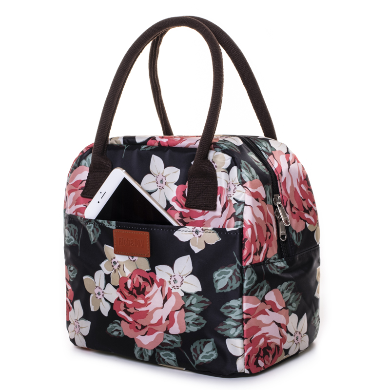 Women Waterproof Picnic Lunch Bag Portable Floral Printing Tote Bags Food Storage Insulated Bags For Cans Lunch Box Thermal Bag