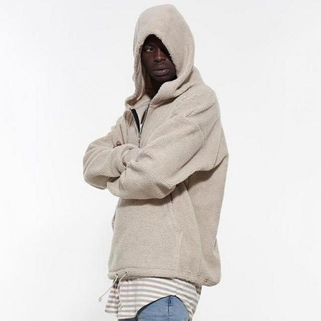 503b9930 PUNKOOL Kanye West Hip Hop Street Fleece Half Zip Sherpa Hoodies Men Full  Sleeve Hood Hoodie Men Pullover Hoodies Sweatshirt