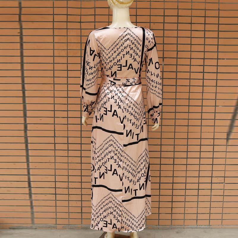Women Letter Print Sexy V-Neck Thigh Slit Maxi Dress Long Sleeve Elegant Boho Beach Dress Casual Long Dresses 5