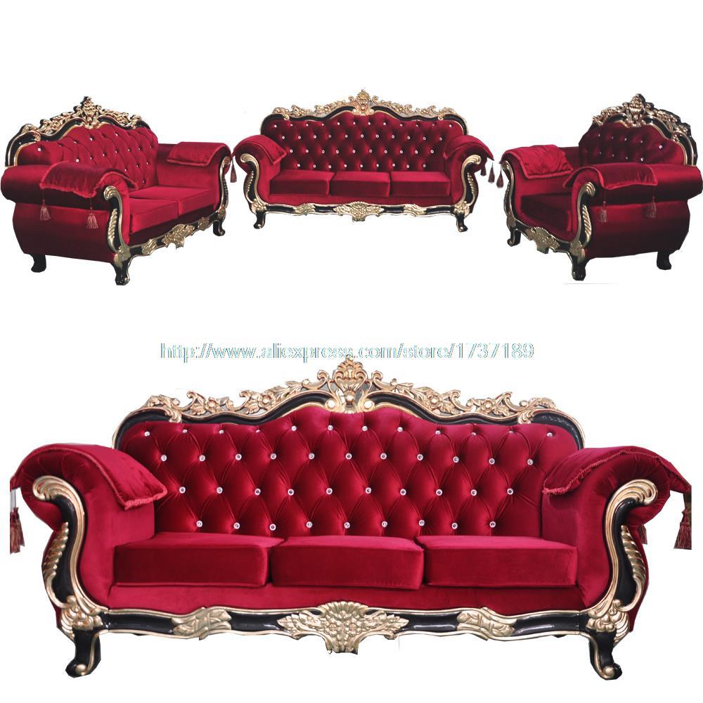 Rotem Samt Sofa Grosse Wohnung Wohnzimmer Im Europaischen Stil Holz