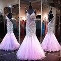 Backless atractivo de La Sirena Vestidos de Baile 2016 Cristales Correa de Espagueti Vestidos de Noche Rhinestone Brillante Coral Vestido de festa longo