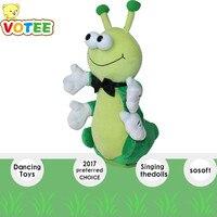 35 cm elektrische zingen dansen muziek rups speelgoed puzzel zachte vulling insect dier baby pop Leuke Educatief gift