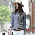 Veri Gude Women's Patchwork Plaid Blouse Casual Style Slim Fit Long Sleeve Shirt Free Shipping
