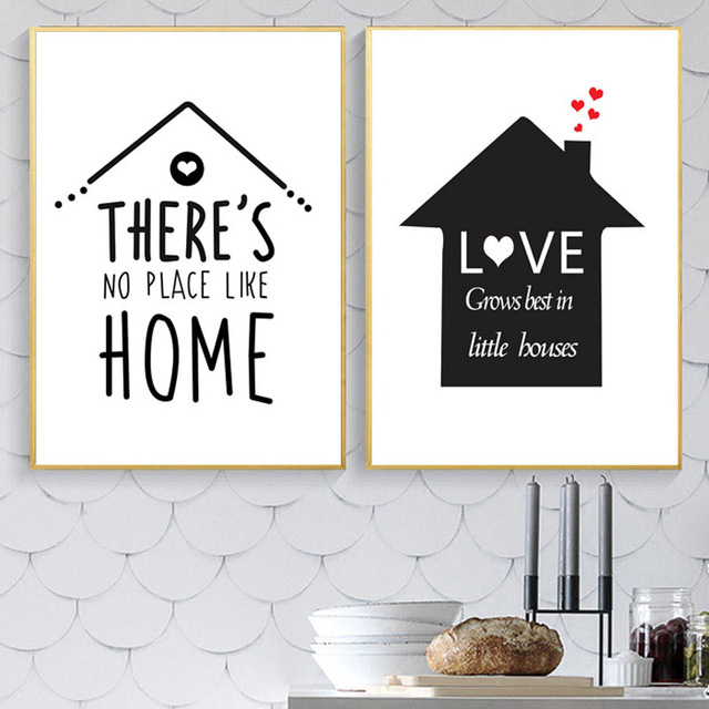 Cartoon Home Love Quotes Nordic Posters En Prints Canvas Schilderij