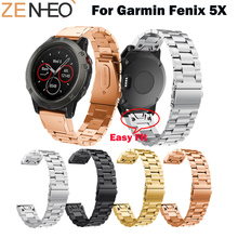 26MM Quick Release EasyFit Stainless Steel Watchband for Garmin Fenix 5X Replacement WristStrap Watch Strap
