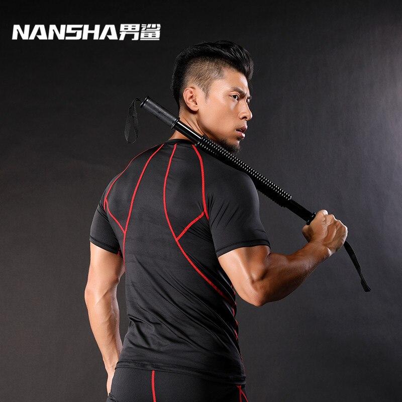 NANSHA Brand   T  -  shirts   Men Quick Dry Compression   Shirts   Base Layer Skin Tight Weight Lifting Elastic Men Short Sleeve   T     Shirts