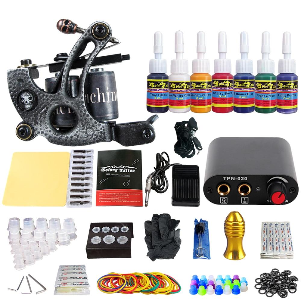 цена на Stigma Tattoo Beginner Kit 1 Professional Machine Gun Tattoo Kit 7 color ink set TK105-53