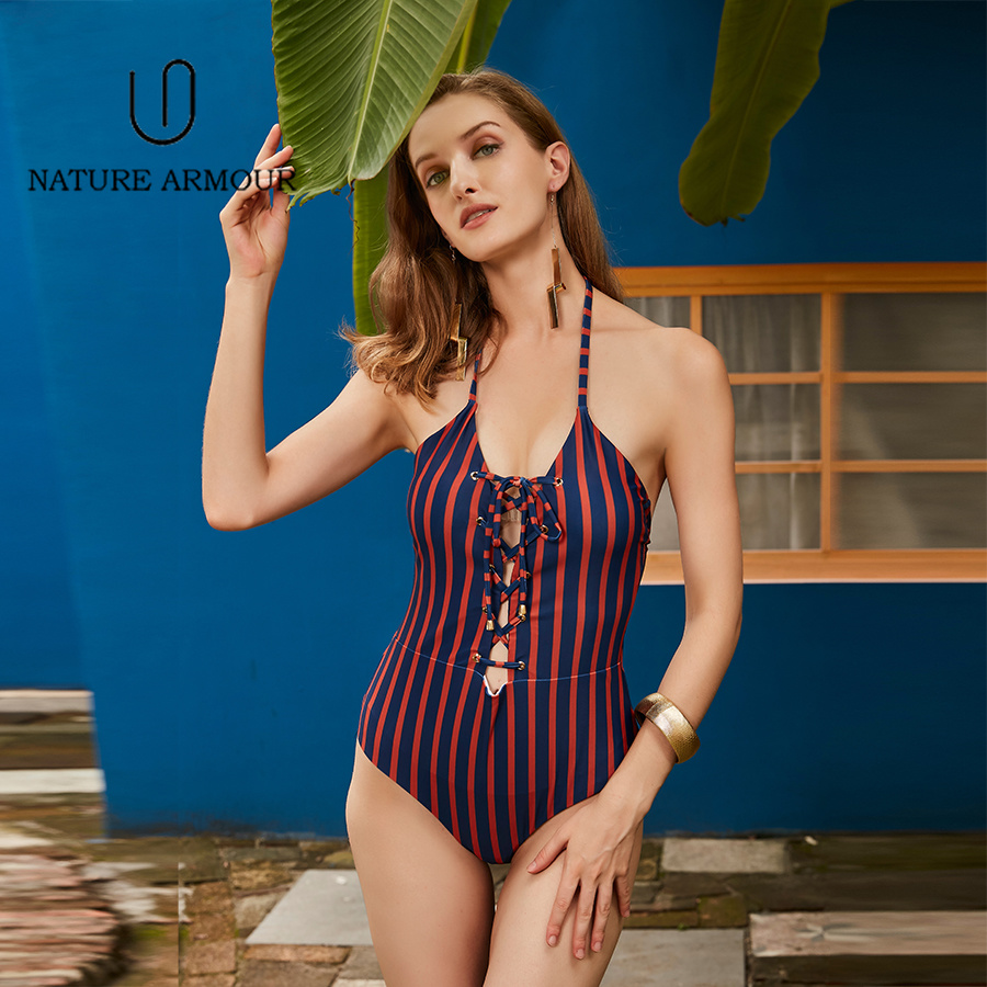 NATURE ARMOUR swimwear women Classic Stripe one piece swimsuit Push Up Beach Wear Bathing Suits Lace-up swimming suit for women stylish push up printed one piece swimwear for women