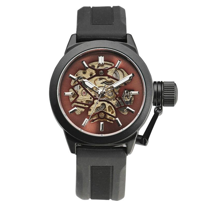 WINNER Delicate Vogue Unisex Automatic Mechanical Wrist Watch black Rubber Strap Precision Durable W Box
