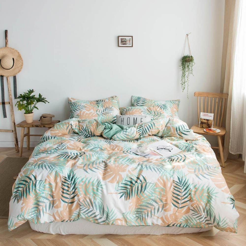 2019 Golden Orange Leaves Brief Bed Cover Duvet Cover Set Cotton Bedding Set Bedlinens Twin Queen King Flat Sheet Fitted Sheet