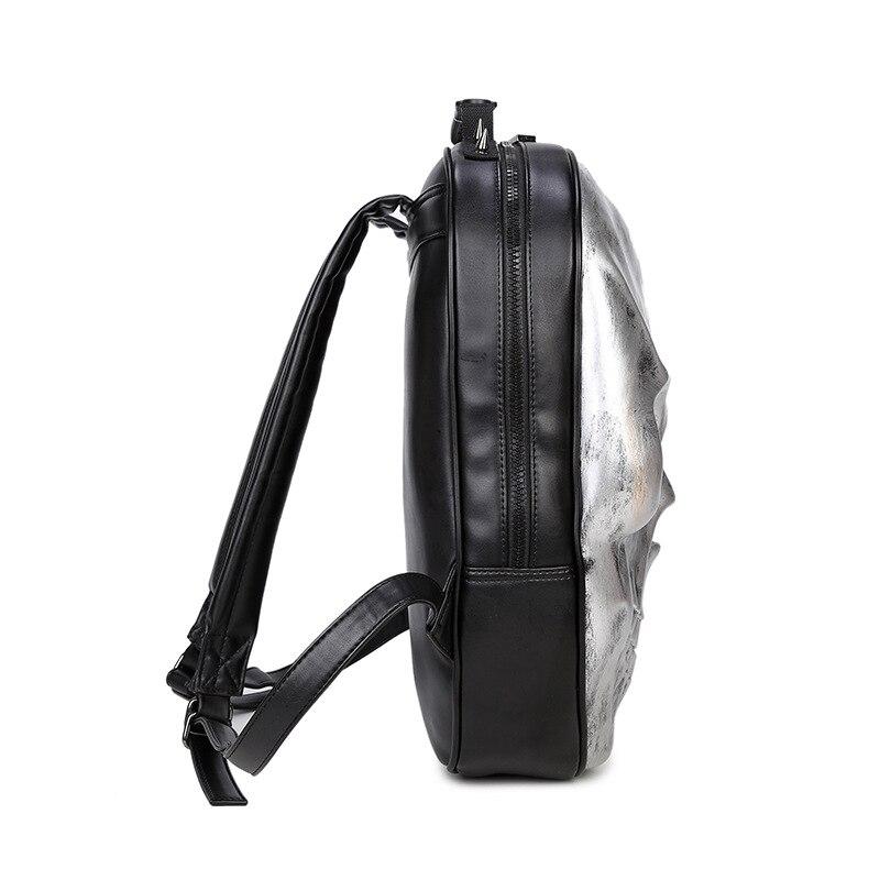 New Unisex Black Leather Backpack 2017 New Brand Women Rock Style Zipper Shoulder Bags Teenagers Skull Printing Backpacks 3
