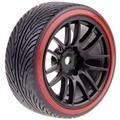4pcs 1/10th RC Model Car On-road Drift Tires & Wheel Rims Black for HSP HIMOTO HPI Redcat Racing Tyres 9062-5008
