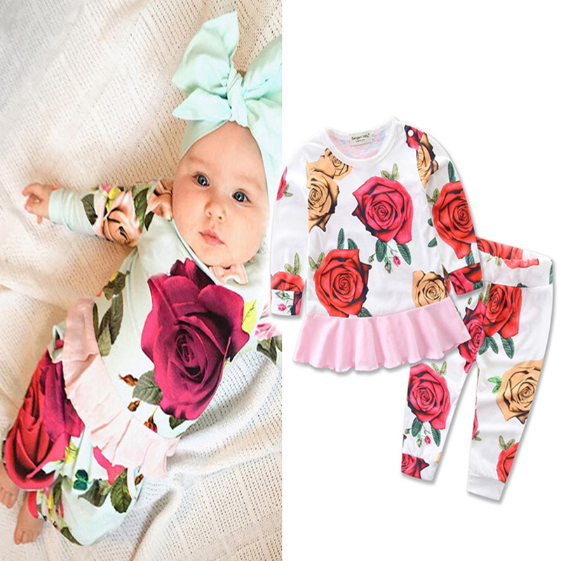 Spring Autumn Floral Baby Girl Clothes Long Sleeve Princes Dress Girls Clothing Sets Rose 2pcs Sweatshirt Baby Rompers Jumpsuits cotton baby rompers set newborn clothes baby clothing boys girls cartoon jumpsuits long sleeve overalls coveralls autumn winter