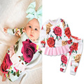 Spring Autumn Floral Baby Girl Clothes Long Sleeve Priness Dress Girls Clothing Sets Rose 2pcs Sweatshirt Baby Rompers Jumpsuits
