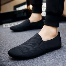 2018 mens casual loafers shoes breathable light fabric fashion spring autumn leopard black gray blue flat with cheap male shoes