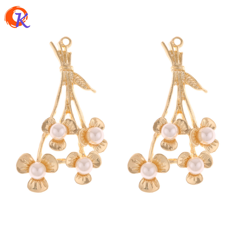 Cordial Design 50Pcs 27*47MM Jewelry Accessories/Earring Making/Pearl Flower Shape/Zinc Alloy/DIY/Hand Made/Earring Findings