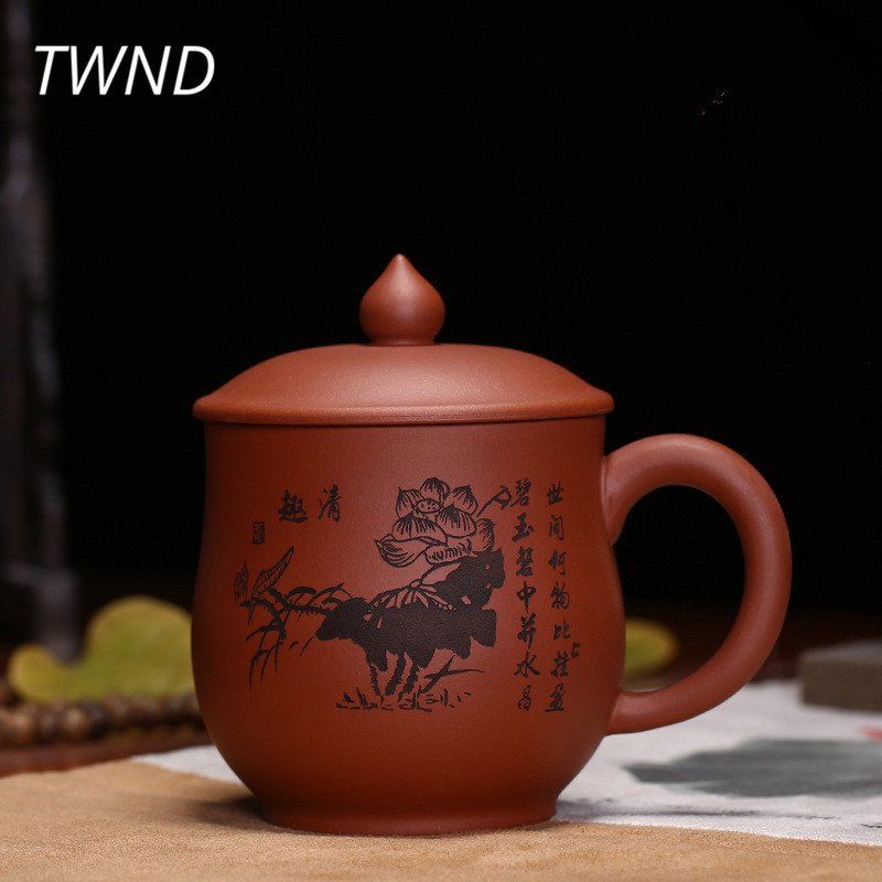 400CC yixing tea cups with cover set chinese kung fu tea mugs ore purple clay sand handpainted lotus drinkware 16.2