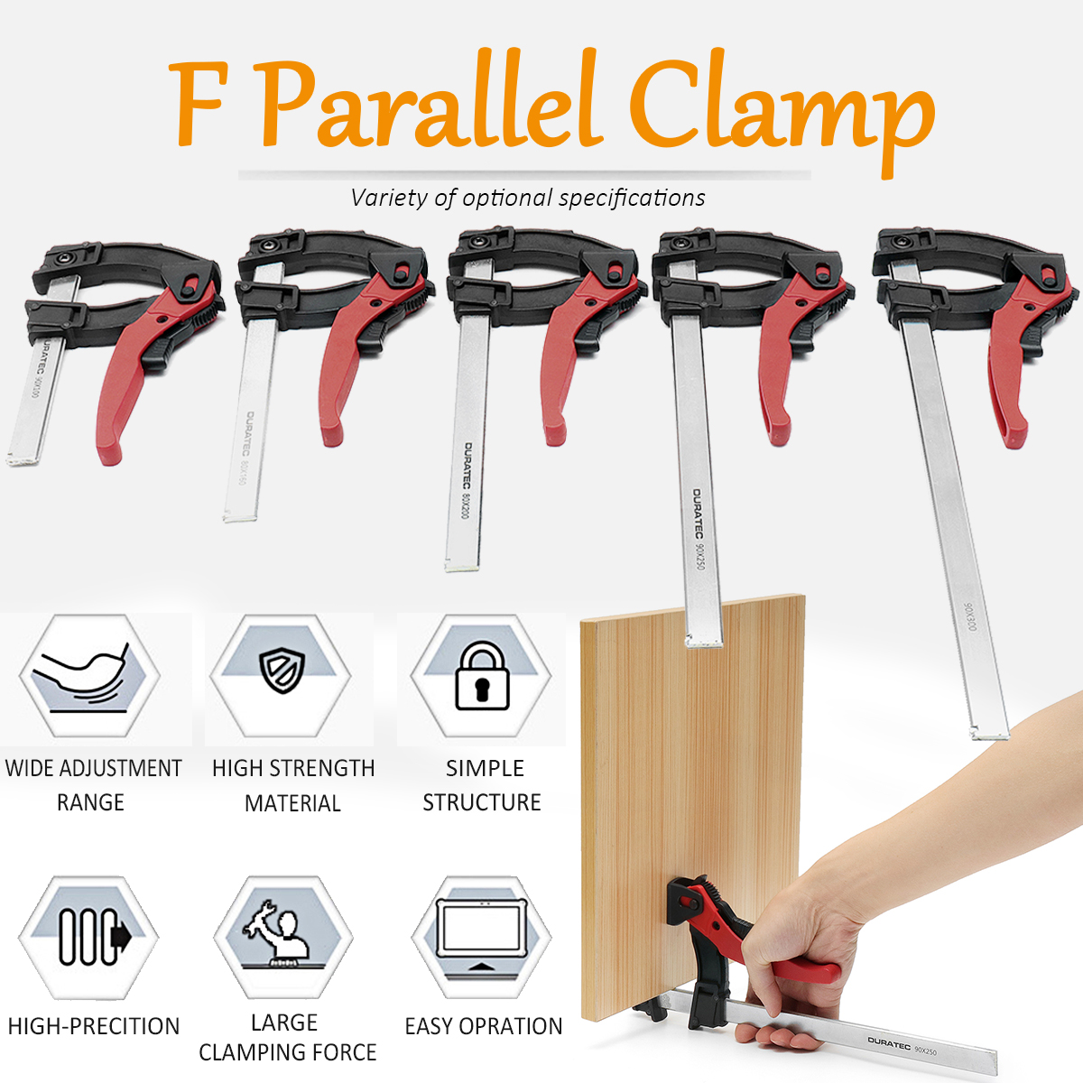 90x 100/160/200/250/300mm Adjustable Quick Grip Clamps Woodworking Metal Clamp Bar Heavy   F Clamp DIY Hand Hardware Tool