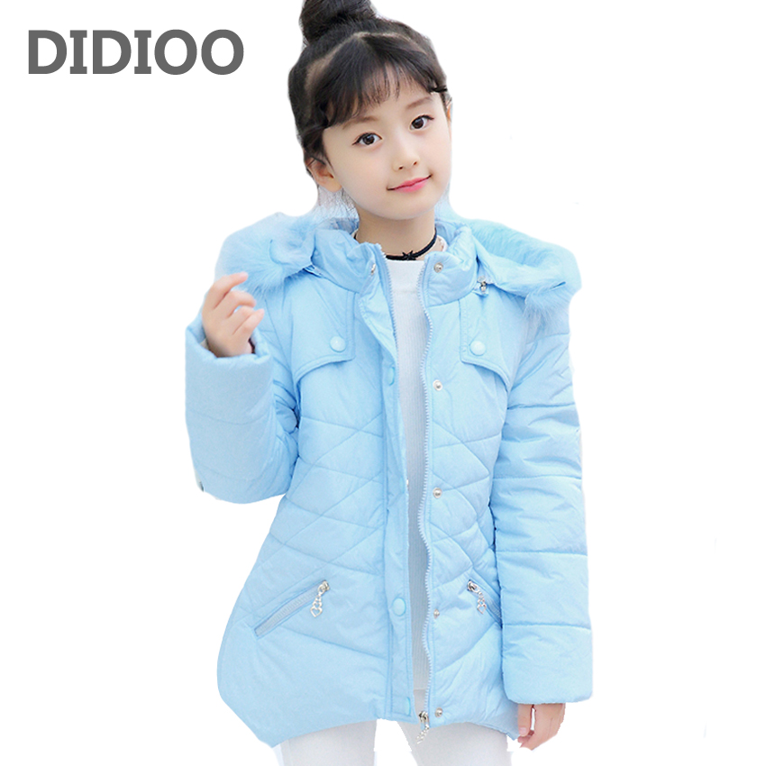 Children Winter Parka For Girls Tops Cotton-Padded Jackets Thick Fur Hooded Coats 2017 Winter Kids Outerwear 4 6 8 9 10 12 Years casual 2016 winter jacket for boys warm jackets coats outerwears thick hooded down cotton jackets for children boy winter parkas