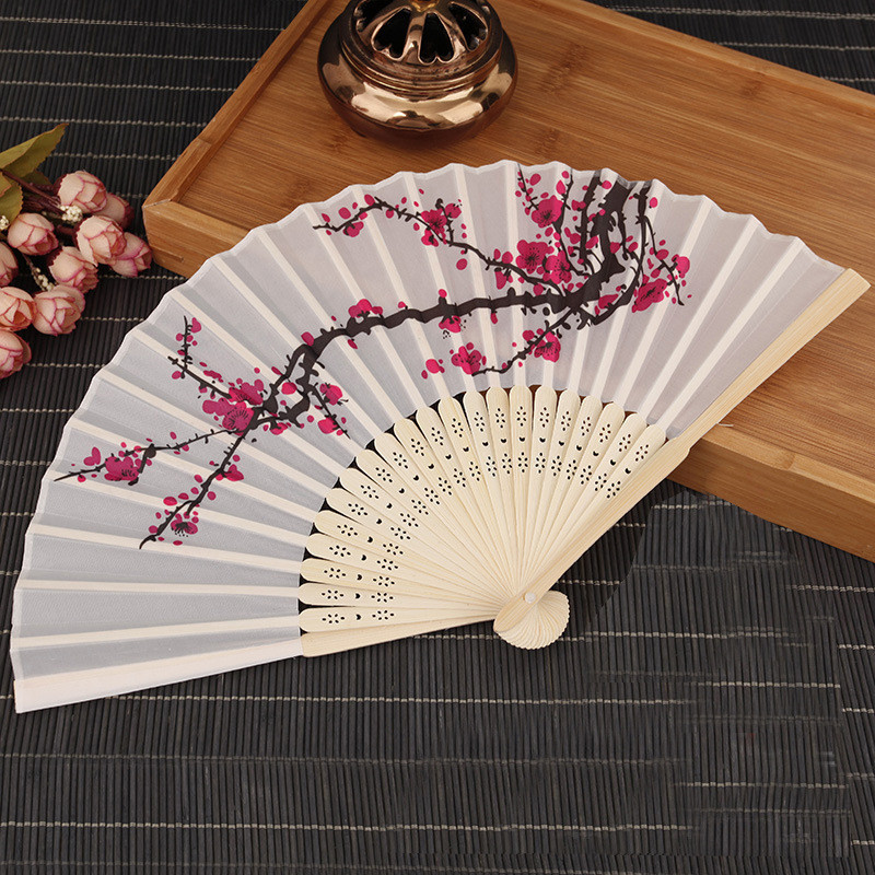 Summer Women Girl Dancing Fan Delicate Elegant Plum Blossom Flower Print Folding Hand Fans White Polyester Fans