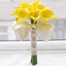 2018 hot 2 Color Beautiful 18pcs Artificial Flowers Ivory/Yellow Calla Lily Long Flower Bouquet Wedding Bouquet bridal bouquets
