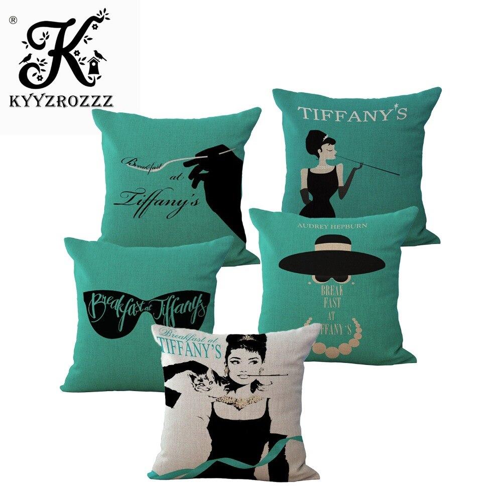 Tiffany petit déjeuner Audrey Hepburn un côté impression décor à la maison canapé siège de voiture housse de coussin décoratif taie d'oreiller Capa Almofada