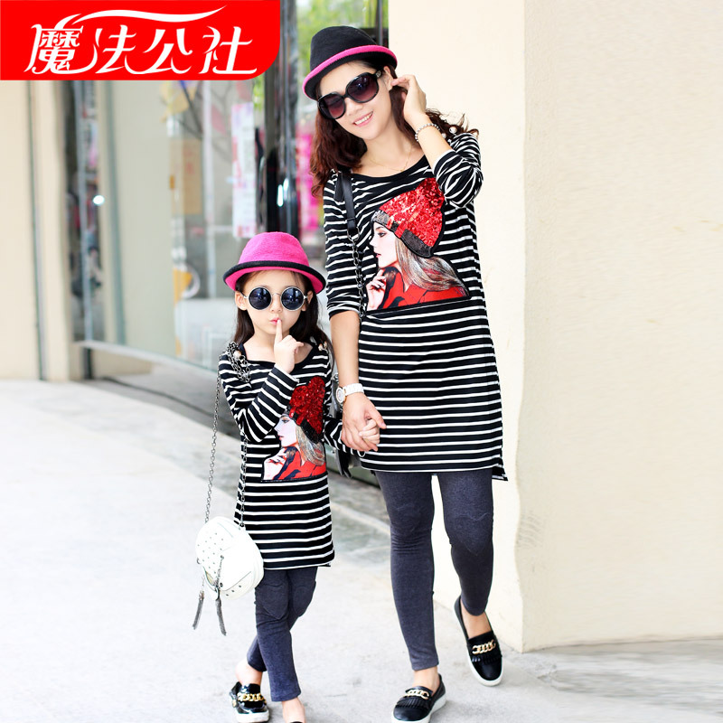 ФОТО Matching Family Clothes Sets Family Look Mother Daughter Striped Long Sleeve Shirt Legging Set Clothes Autumn Style FamilyOutfit