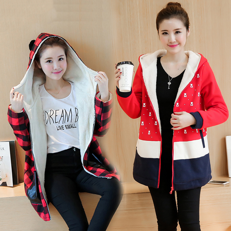 Special offer Maternity  winter 2016 100% velvet thickening cotton loose sweatshirt fashion plus size cardigan for big size lady special make 100