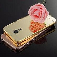 MX5 banhado a Ouro Aluminum Bumper Metal Frame E Espelho PC de Volta caso capa para o meizu mx5 mx 5 celular saco do telefone móvel casos