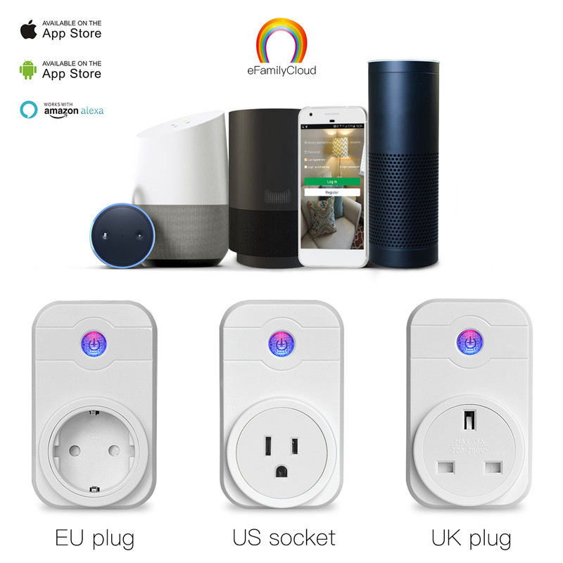 Home Automation Wifi Smart Plug socket Phone Remote Control Timer Control Voice Control Working with Google home Amazon Alexa mini wifi rgb strip light controller with music control and voice control compatible with google home