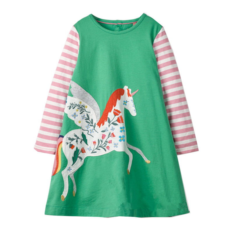 Unicorn Party Girls Dress Children Autumn Winter Kids Dresses for Girls Clothes Animal Applique Baby Dress Princess Costume hygrometers tk100c digital cotton seed cotton moisture meter digital tester 7 40% humidity