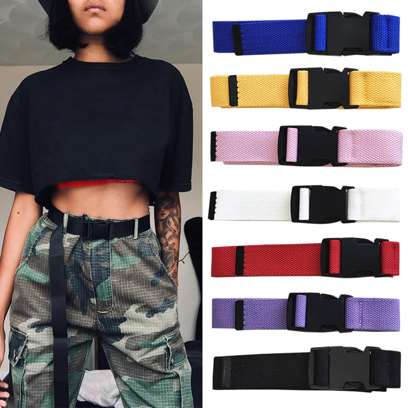 HTB1LZCjbfc3T1VjSZLeq6zZsVXao - Adults Adjustable All-Match Belt Unisex Korean Style Canvas Belts Vintage Plastic Buckle Elastic Solid Color Long Waistband