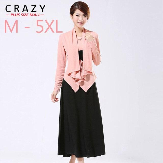 2019 Spring Plus Size 6XL 5XL 4L Women Clothing Long-sleeve Loose Cardigan Elegant Twinset Full Maxi Dresses Big Size XXXL