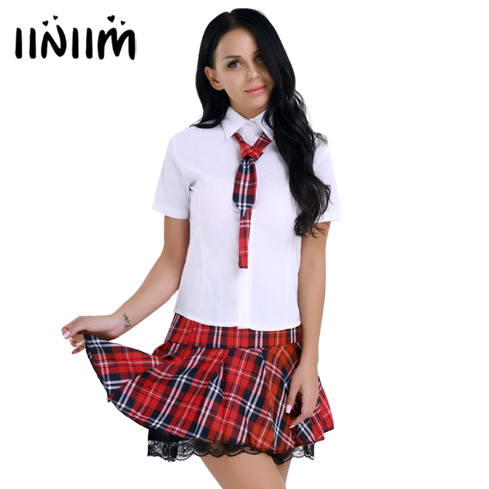 Women Clothing Set for School Girl Uniform Shirt with Mini Lace Plaid Skirt Hidden Side Zipper Closure Tie Role Play Costume Set