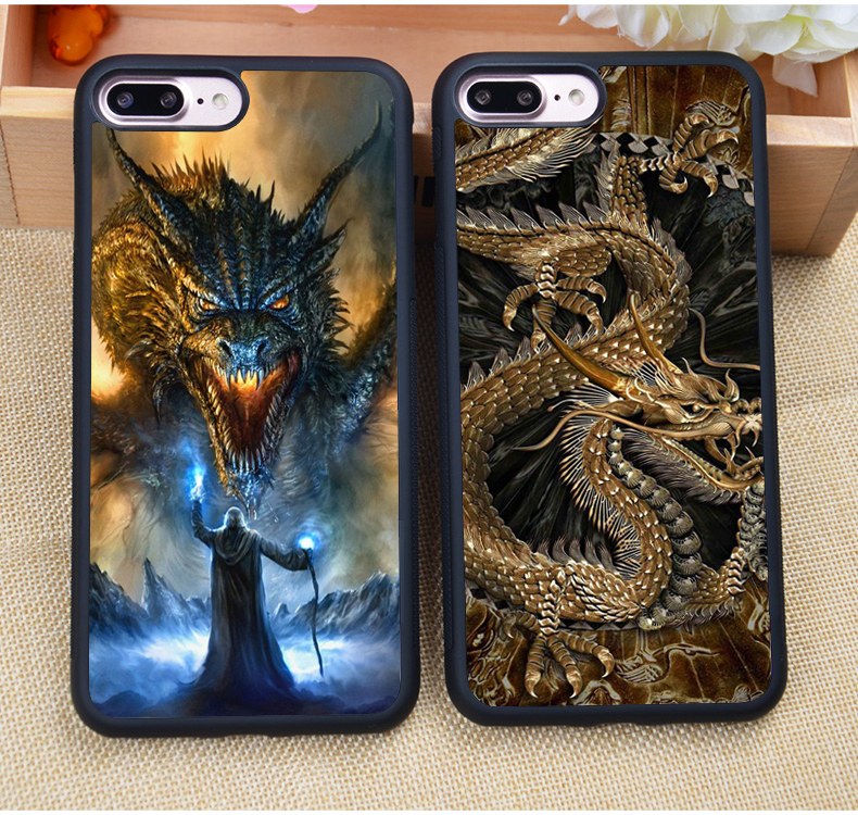 New Luxury Chinese Dragon Pattern Mobile Phone Cases For Apple iPhone 7 7 Plus 6 6S Plus 5 5S 5C SE 4S Soft Rubber Coque Fundas