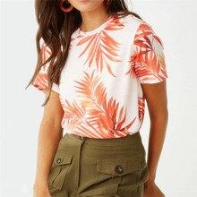 Summer Chiffon Blouses New Maple Leaf Printed Shirt O-neck Leisure Women Ladies Shirts Short Sleeve Orange Fashion Tops Blusas