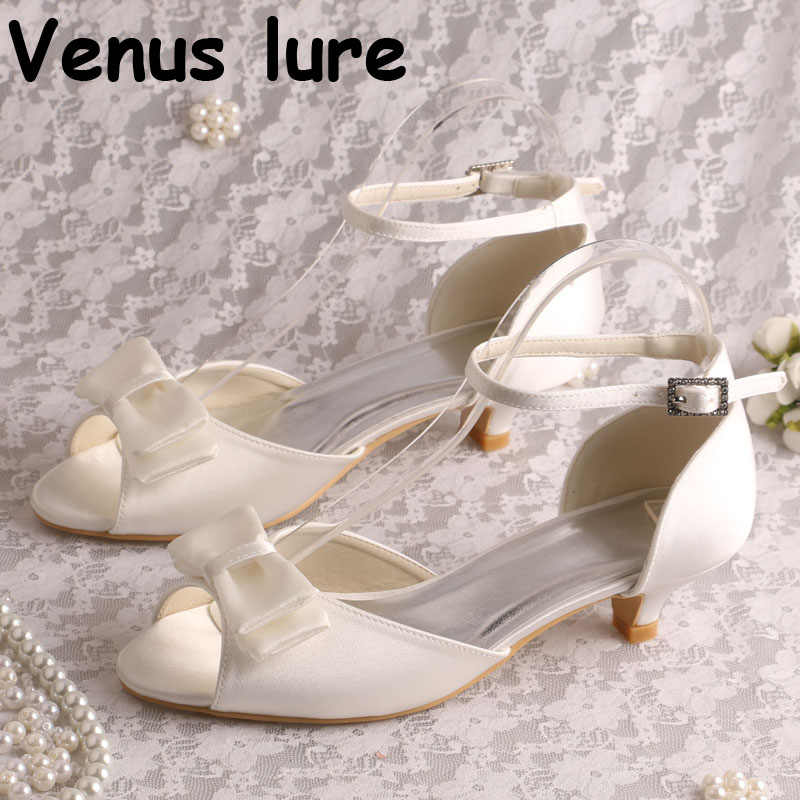 1b9261bdc8d Ankle Strap Low Heel Sandal Shoes with Bow-knot Ivory Satin Women Wedding  Sandals Bride