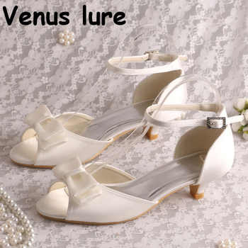 Ankle Strap Low Heel Sandal Shoes with Bow-knot Ivory Satin Women Wedding Sandals Bride - DISCOUNT ITEM  5% OFF Shoes