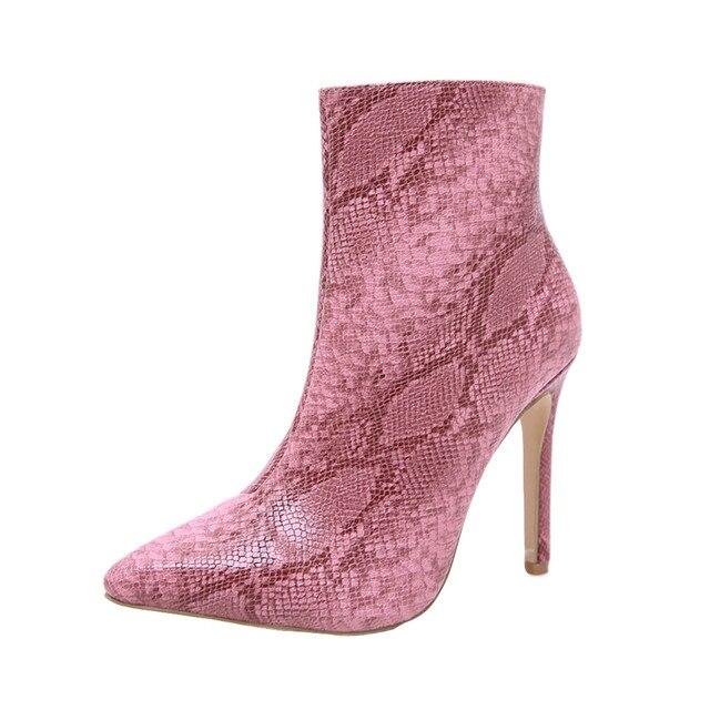 Katı yılan deri kadın sivri burun Stiletto yüksek topuklu ayakkabı patik kadın seksi ince topuklu fermuar çizmeler bayanlar ayakkabı pembe