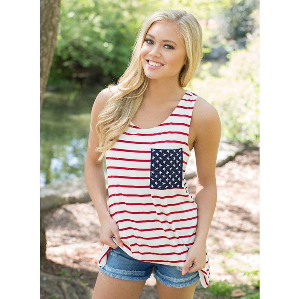 sexy womens american flag vest tank tops sleeveless shirt blouse