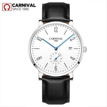 цена на Carnival Automatic mechanical Watch Men luxury brand full Steel Business men Watches Calkskin Leather Fashion Casual Date Clocks