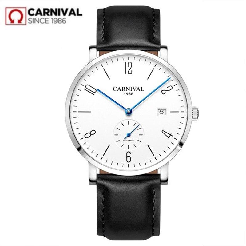 카니발 자동 기계식 시계 남자 럭셔리 브랜드 전체 철강 비즈니스 남자 시계 calkskin 가죽 패션 캐주얼 날짜 시계-에서기계식 시계부터 시계 의  그룹 1
