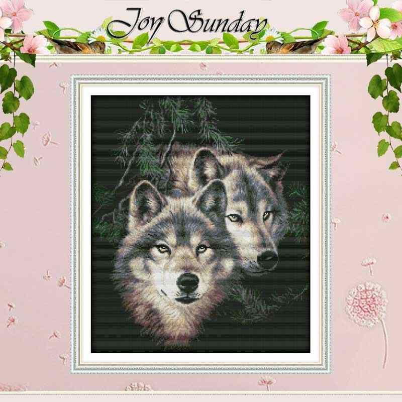 Zwei Wölfe (2) Gezählt Kreuz Stich 11CT Gedruckt 14CT Handmade Kreuz Stich Set tiere Kreuz-stich Kit Stickerei Hand