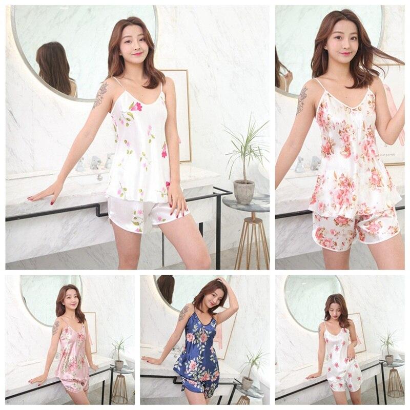 Summer Cozy Sleepwear Spaghetti Straps Thin Pijama Pyjamas For Women Underwear Set Floral Printed Satin Ice Silk Women 39 s Pajamas in Pajama Sets from Underwear amp Sleepwears
