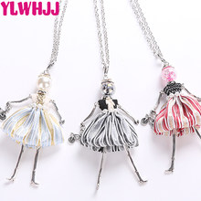 YLWHJJ brand handmade doll necklaces long chain pendants 2018 alloy new cute choker girls women accessories black maxi necklace(China)