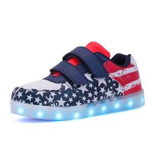 Image 5 - حجم 25 37 USB الأطفال أحذية خفيفة الاطفال مضيئة أحذية رياضية للبنين والبنات Led أحذية Krasovki مع الخلفية مضاءة الأحذية