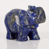 2 Inch Elephant Figurines Craft Carved Natural Stone Lapis Lazuli Elephant Mini Animals Statue For Home