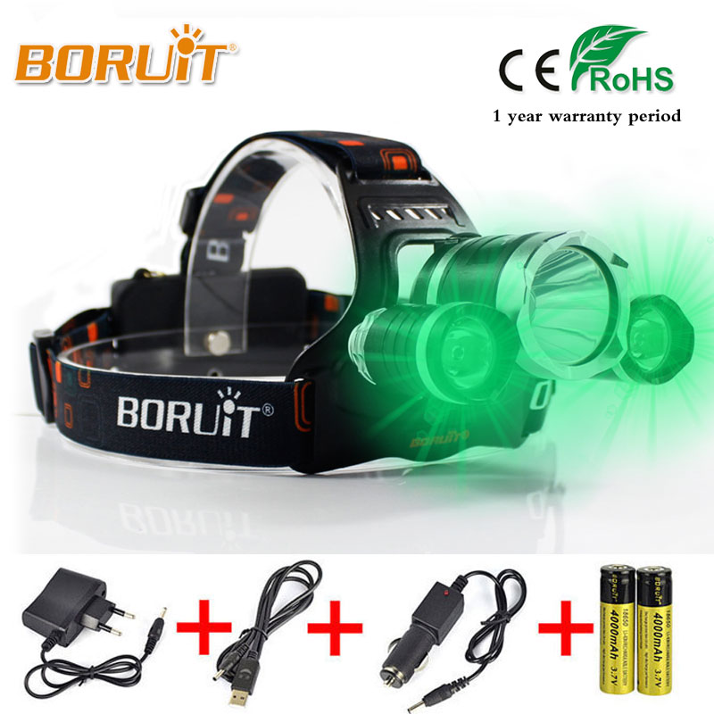 BORUIT 5000LM XML T6+2R2 LED Headlight 3 Modes Green Light 18650 Battery Rechargeable Headlamp For Fishing Hunting Head Torch boruit powerful xml t6 led rechargeable headlamp headlight lanterna flashlight headlamps 18650 battery headlight for motorcycle
