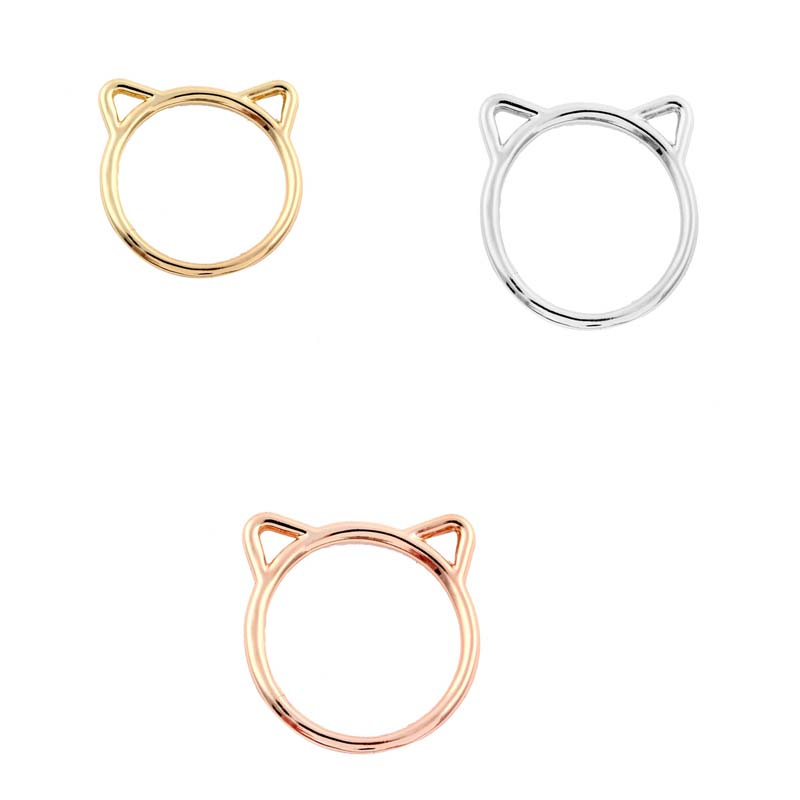 Oly2u New Fashion Cute Animal Ring Hammered Kitty Cat Ear Rings for Women Girl Jewelry Gift -R090 ...