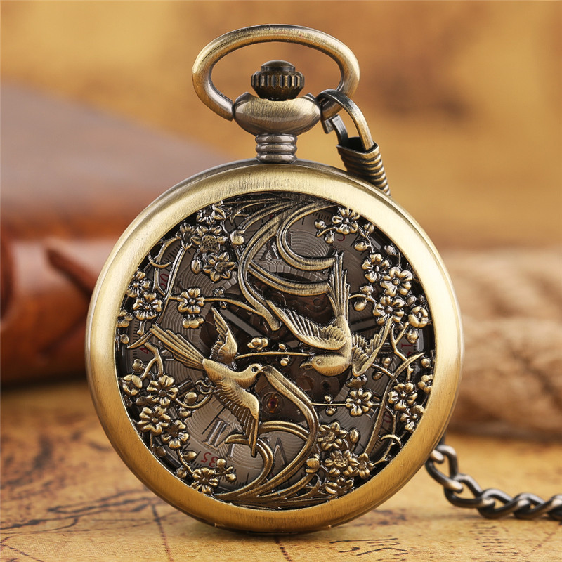 Retro Automatic Mechanical Carving Chinese Magpie Flowers Pocket Watch Fashion Fob Chain Clocks Creative Lovers Unique Gifts